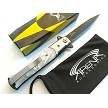 The Bone Edge God Father Style Spring Assisted Stiletto Pocket Knife White Pearl Swirl Handle EDC
