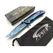 Tac-Force Small EDC Pocket Knife Blue Ti Coated Frame Lock Flipper Spring Assisted EDC Blade