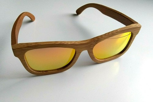 BeWell Bamboo Sunglasses Lightweight Handmade Light Brown Wood Red Orange Lenses