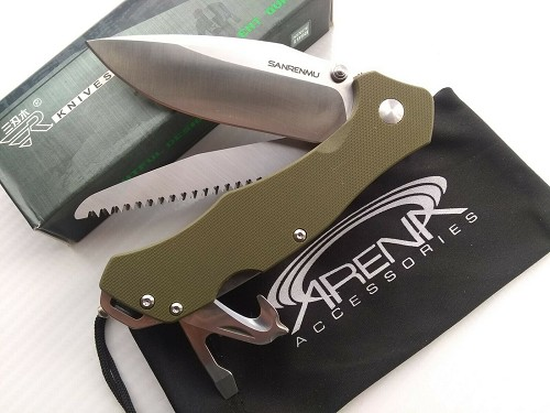 SRM 9019 Sanrenmu Pocket Knife Saw 8 Function Multi-Tool 12C27 Sandvik Blade Ball Bearing Pivot Green G10 Scales