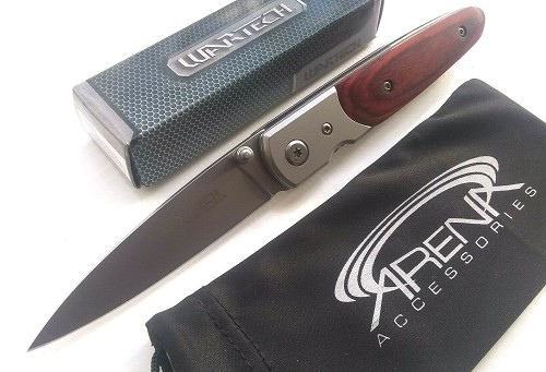"Wartech Spear Point Blade Spring Assisted Pocket Knife Wood Handle  Small 7"" Inch Lightweight EDC"