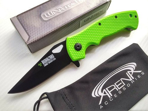Wartech Biohazard Zombie Survival Spring Assisted Pocket Knife Flipper EDC Neon Green
