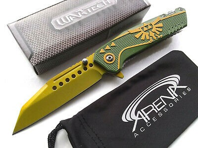 Wartech Green & Gold Legend of Zelda Wharncliffe Reverse Tanto Spring Assisted Pocket Knife EDC Limited Edition