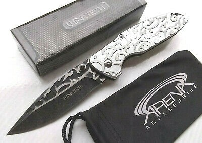 Wartech Silver 3D Engraved Scroll Work Spring Assisted Pocket Knife EDC Stonewashed Tip Up Carry Ladies