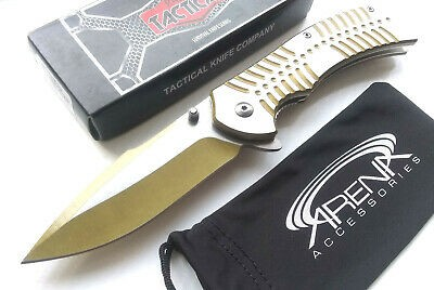 Razor Tactical RT-7076GD All Metal Spring Assisted Gold & Silver Flipper Pocket Knife Harpoon Blade Heavy Duty EDC Rare Discontinued