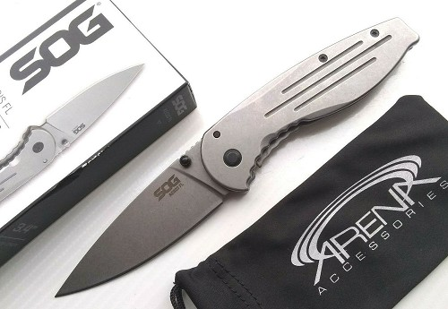 SOG Aegis FL Manual Open FrameLock Pocket Knife 8Cr18MoV Tip Up Carry EDC Stonewashed Blade