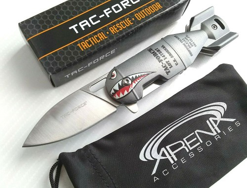 Tac-Force Air Force AO Flying Tiger Shark Bomb Arsenal Spring Assisted Pocket Knife Flipper EDC Gift