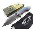 Rainbow Faux Damascus Spring Assisted Frame Lock Pocket Knife EDC Tanto Blade Tip Up Carry
