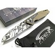 Tan G10 Handle Stonewashed Camo Blade Spring Assisted Pocket Knife Harpoon Wharncliffe Blade EDC Combat Ready