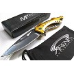 Gold Bottle Opener Screwdriver Spring Assisted Pocket Knife Flipper EDC Blade