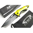 Neon Yellow Bottle Opener Screwdriver Spring Assisted Pocket Knife Flipper EDC Blade