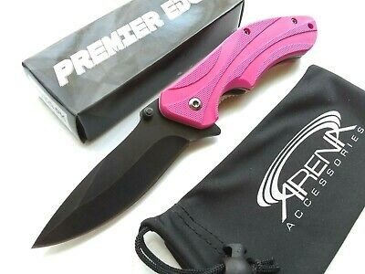 Pink Magenta Wave Spring Assist Pocket Knife Lightweight EDC Flipper Womens Girl