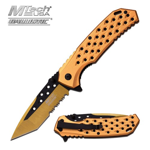 TANTO Pocket Knife Ballistic Spring Assist GOLD Partial Serrated Legal EDC Blade