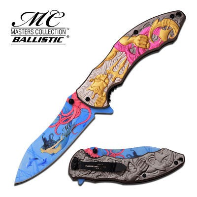 Greek Mythology King Poseidon Triton Neptune Mermaid Spring Assist Pocket Knife