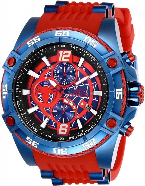 Mens Invicta 26768 Marvel Spider-Man Verse Blue Red Bolt Band Quartz 52mm Watch