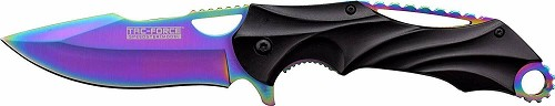 Iridescent Rainbow Fade EDC Work Pocket Knife Harpoon Blade Flipper w/ Jimping