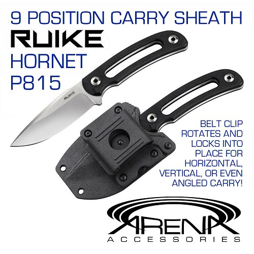 RUIKE P815 Sandvik Fixed Blade Knife EDC Concealed Carry Horizontal Mount Sheath