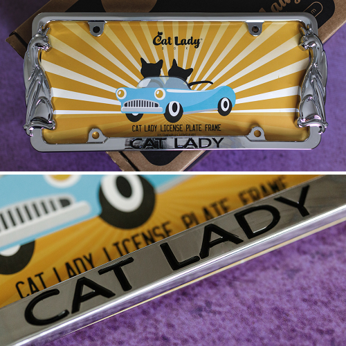 CAT LADY Car License Plate Frame NEW in Box Chrome Metal Silver Crazy Funny