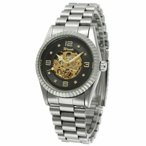 35mm Face Automatic Mechanical Self or Hand Wind Skeleton Men Women Wrist Watch