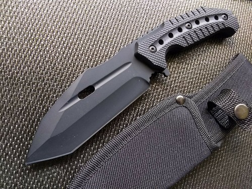 Concealed Carry Tanto Fixed Blade Bowie Knife Nylon Sheath CSGO STEALTH BLACK