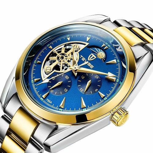 TEVISE Automatic Mechanical Tourbillon Watch Sun Moon Phase 42mm Gold Men Luxury