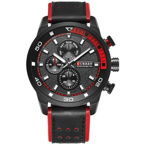 CURREN Japan Quartz Movement Wrist Watch Black Red Darth Maul Stormtrooper 48mm