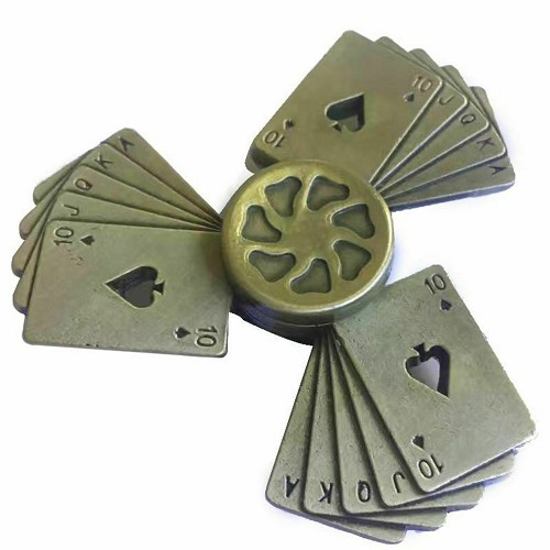 Bronze Ace of Spades Poker Fidget Spinner Straight Flush Texas Holdem Metal Gift
