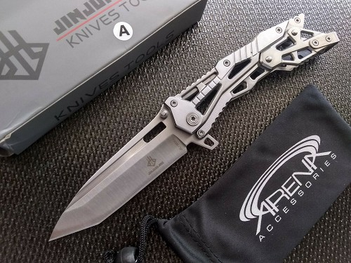 Jin Jun Lang 16011 Pocket Knife Tanto Blade w/ Unique Mechanical Lock Mechanism