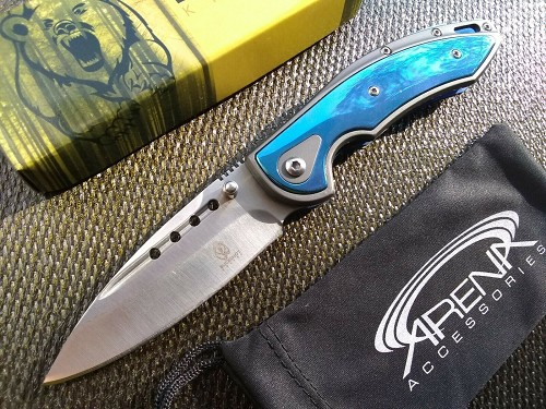 Blood Groove Blade Assisted Pocket Knife Deep-Carry Clip Blue Dual Thumbstud EDC