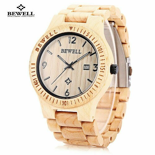 Bewell Maple Wood Men Women Wrist Watch Japan Miyota Quartz Mvmt Date 42mm Face