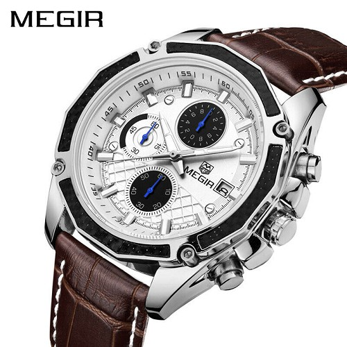 MEGIR Real Carbon Fiber White Face BROWN Leather Band Chronograph Wrist Watch