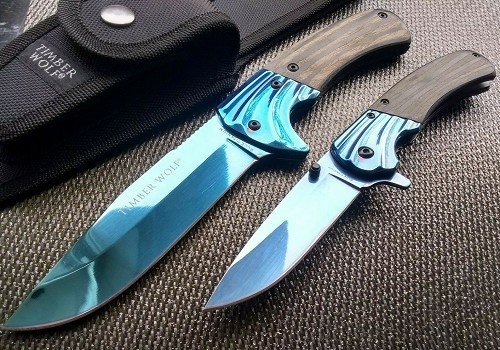 2 Blade Combo Gift Set Assisted Open Pocket Knife & Fixed Bowie Blue Bundle Wood