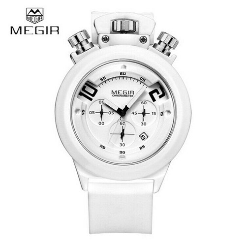 MEGIR Gym Fitness Coaching Chronograph Stopwatch Top Crown Wrist Watch Silicone